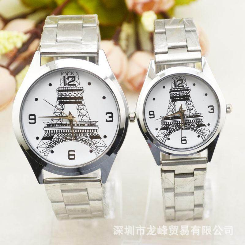 Foreign trade hot selling Korean fashion trend couples steel band Watch Tower watch male and female student explosion Watch Rose Gold Malaysia