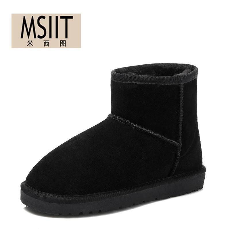 2017 musim gugur musim dingin model baru Boots Salju perempuan Kulit asli tambah beludru lebih tebal