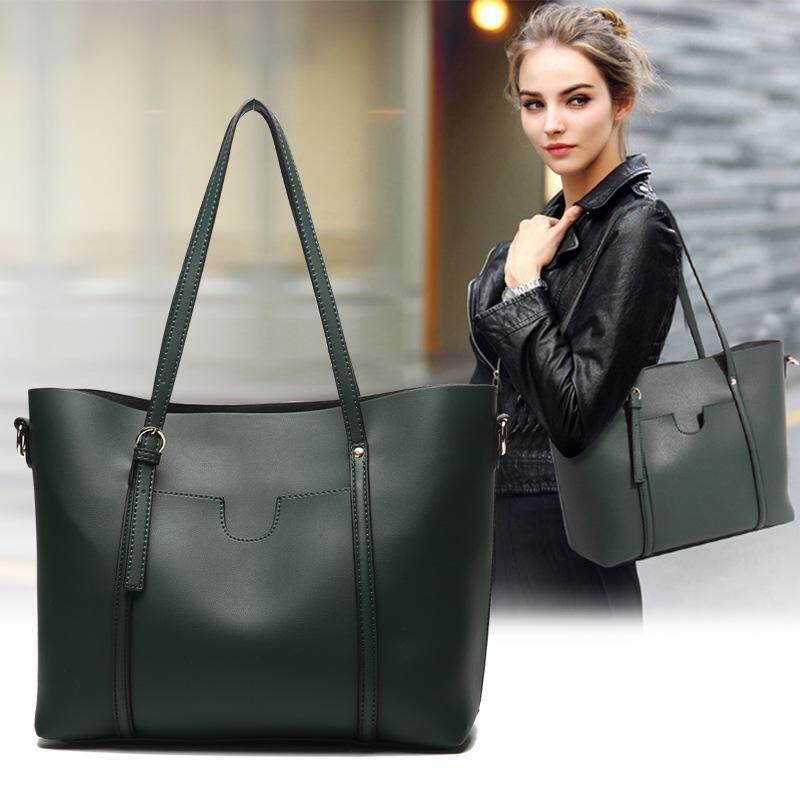 3 Color Soft Leather European American Large-Capacity Ladies Handbag Shoulder Bag Messenger Big 2018 New Fashion Tote Bag for Women Girls PU Leather Material (Green,Black,Brown) - intl