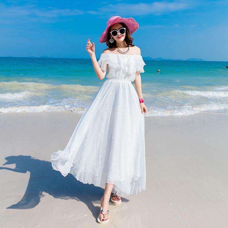 Trễ Vai Trắng Sanya Váy Đi Biển Nữ Giúp Vóc Dáng Thon Gọn Váy Dài Voan Bên Bờ Biển Du Lịch Đầm Giống Nàng Tiên Dáng Dài