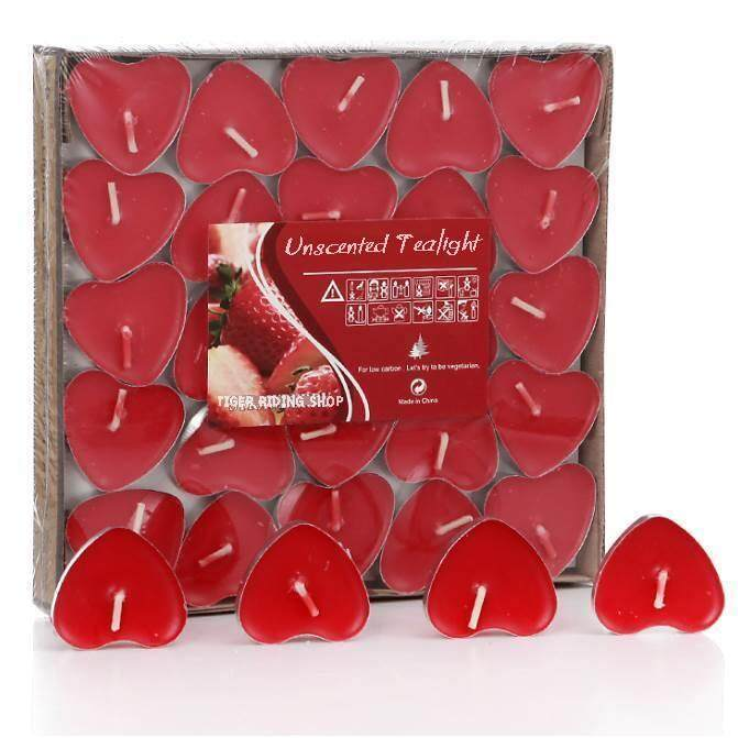 เทียนทีไลท์รูปหัวใจสีแดง 50ชิ้น/กล่อง ไร้กลิ่น ไร้ควัน จุดได้2ชั่วโมง ขนาด36มม..