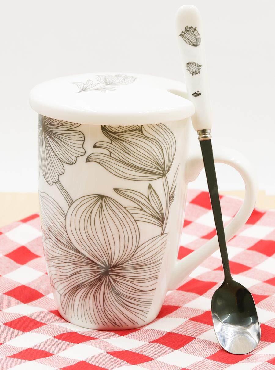 แก้วเซรามิคพิมพ์ลายดอกไม้ พร้อมฝาปิดสีขาว