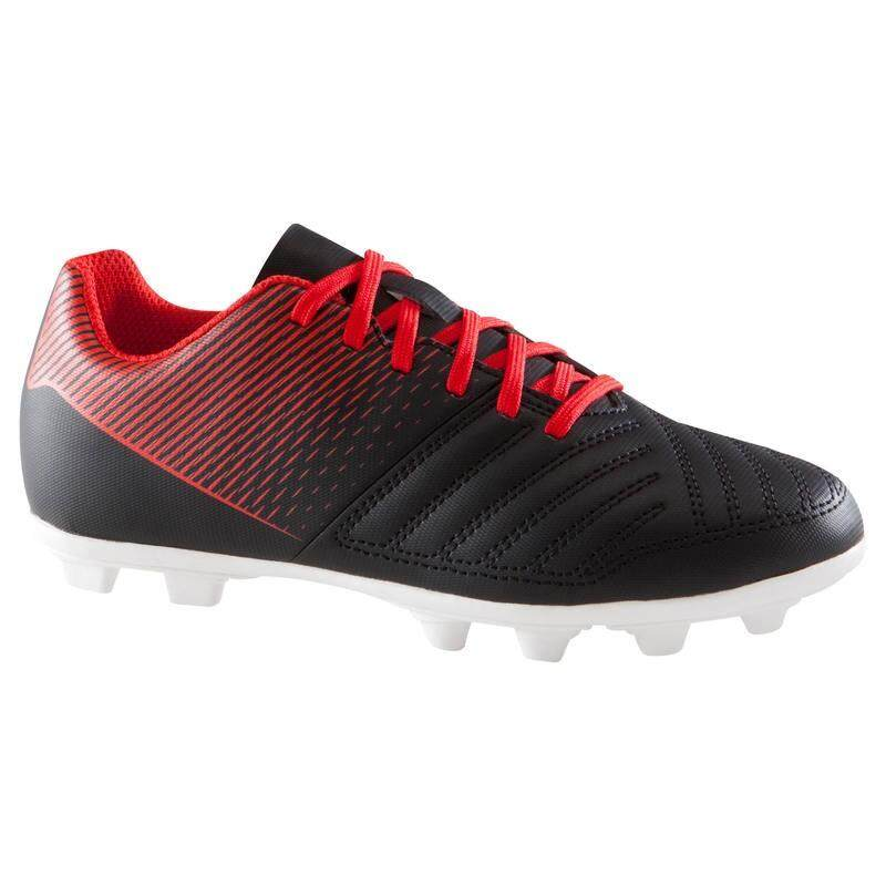 รองเท้าฟุตบอลเด็กสำหรับสนามพื้นแห้งรุ่น First Fg (สีดำ/ขาว) By Noomnoomshop.
