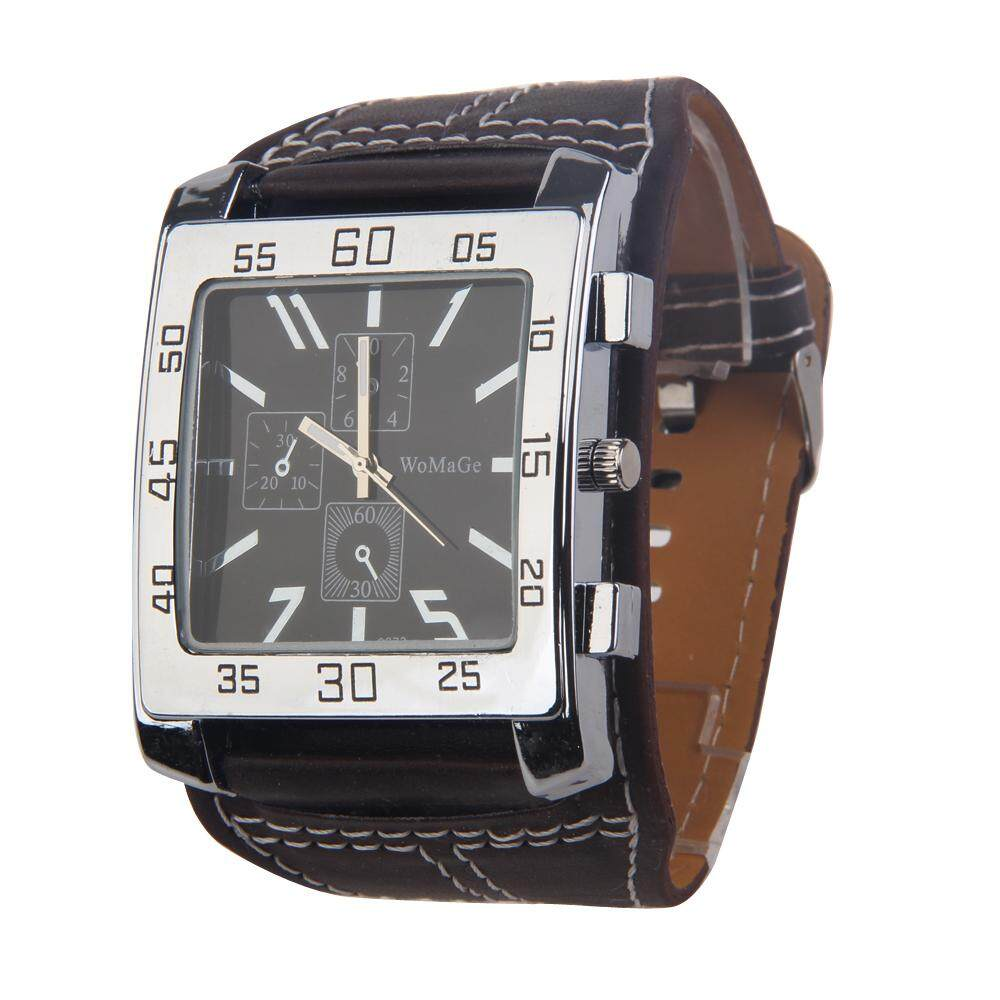 Nơi bán Chiclife   Trendy Man Wrist Watch Quartz Movement Leather Watchband Square Dial Brown