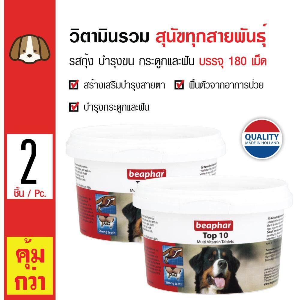Beaphar Top 10 Dog วิตามินรวม รสกุ้ง วิตามินเกลือแร่รวม ชนิดเม็ด บำรุงขน กระดูกและฟัน สำหรับสุนัขทุกสายพันธุ์ (180 เม็ด/ กล่อง) x 2 กล่อง