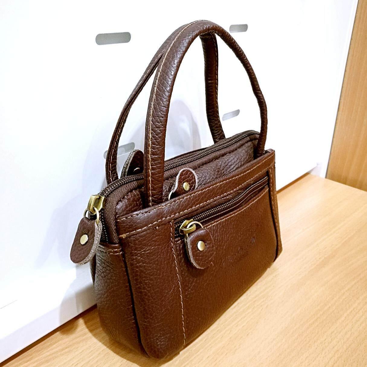 Leather Inc กระเป๋าถือผู้หญิงแบบมีหูหิ้ว ใส่มือถือใส่เงิน หนังแท้ หนังแท้ รุ่น Bs012-1.