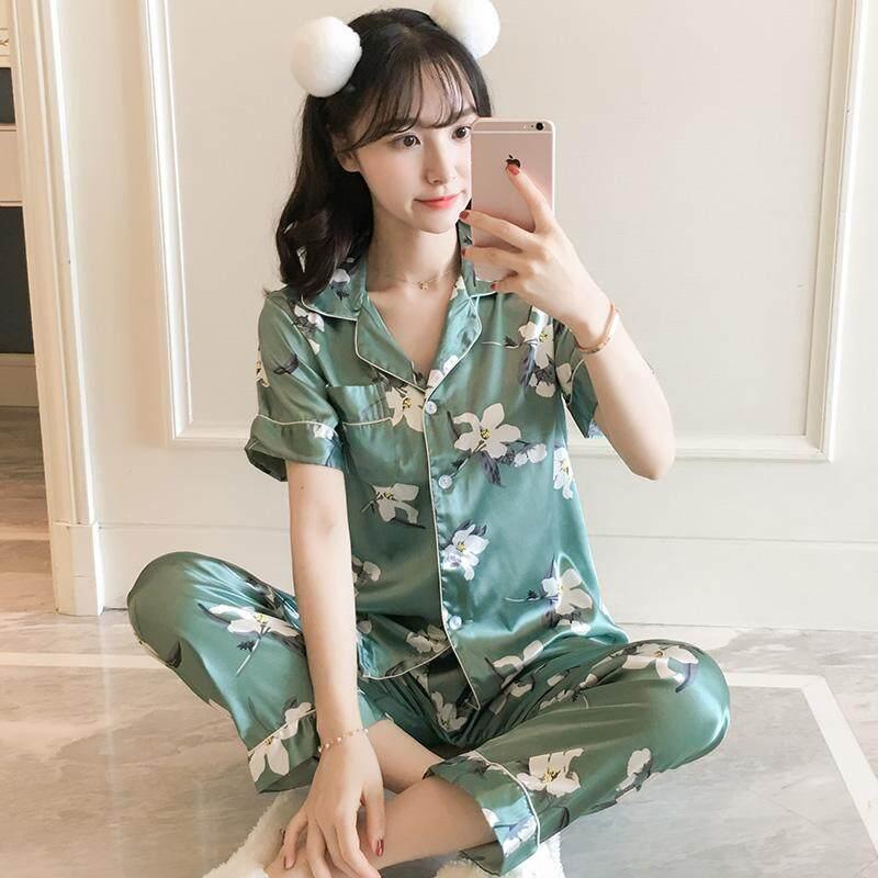 c4d86fdc6d Pajamas women Summer Viscose Short Sleeve Trousers Two Piece Set Green  Flower Korean Style Fresh Students
