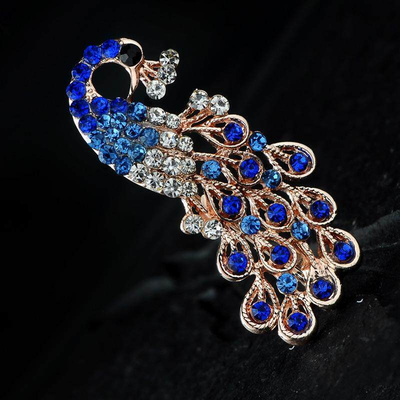 Lantingshijia Korean Style Autumn And Winter Glorious Women's Peacock Brooch Versitile Fashion Corsage Pin Buckle Fashion