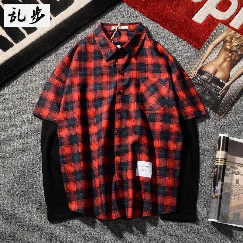 Men's Clothing Bf Style Classic Plaid Mens Leisure Shirt Autumn Korean Version Loose Long-sleeved Slim Casual Retro Warm Cardigan Black Beige