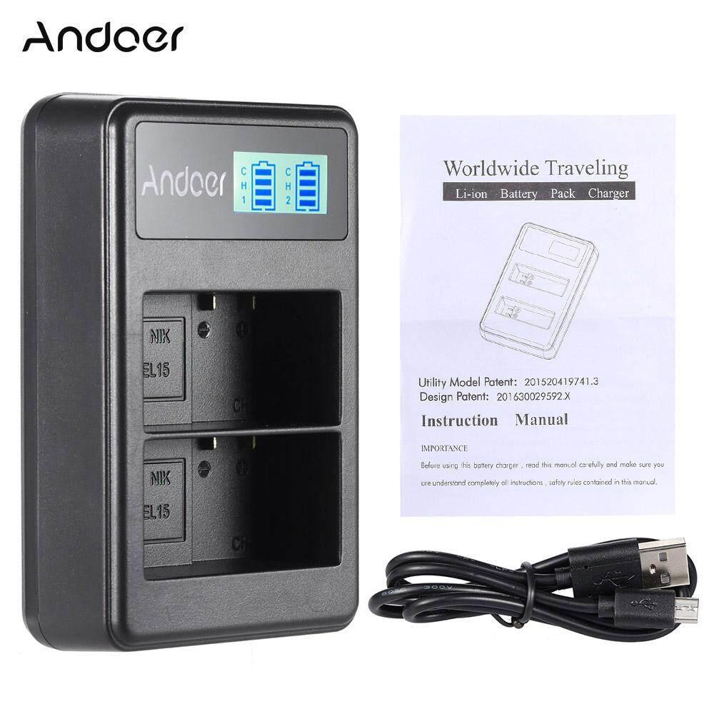 Andoer EN-EL15 Isi Ulang Tampilan LED Charger Paket 2 Slot Kabel USB Kit untuk Nikon 1 V1 D600 D610 D750 D800 D810 D810A D7000 D7100 D7200 Digital SLR Kamera-Internasional