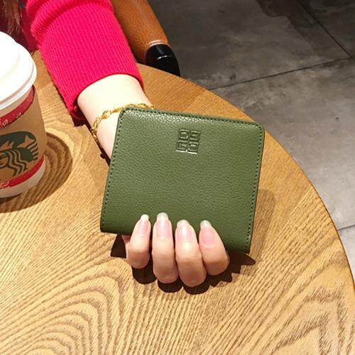 [Every Day Special Words】 Leather Short Small Purse Female Cowhide Ultra-Thin Wallet Mini Card Holder Simple Closure Leather Wallet