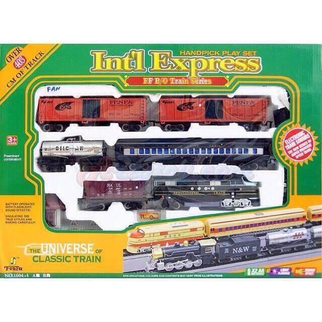 รถไฟวิ่งราง Int Express (mfan) ขนาดใหญ่ หัวรถไฟ มีเสียงและมีไฟ รถไฟวิ่งรางขบวนยาว 5 โบกี้.