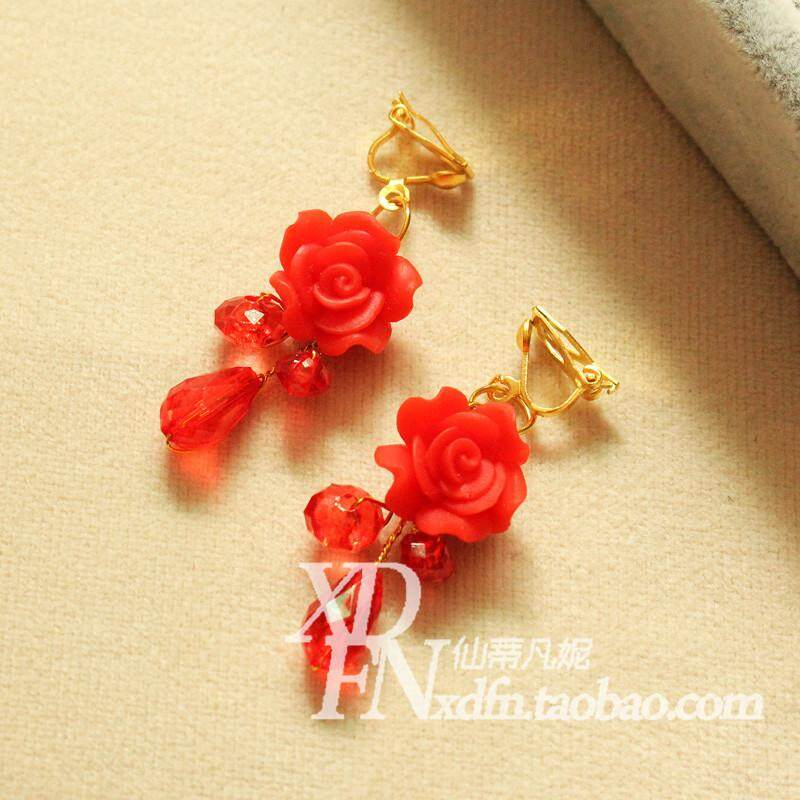Red Bride Earrings Ear Hook Pierced Ears Korean Style HUADO Formal dress for women Wedding dress