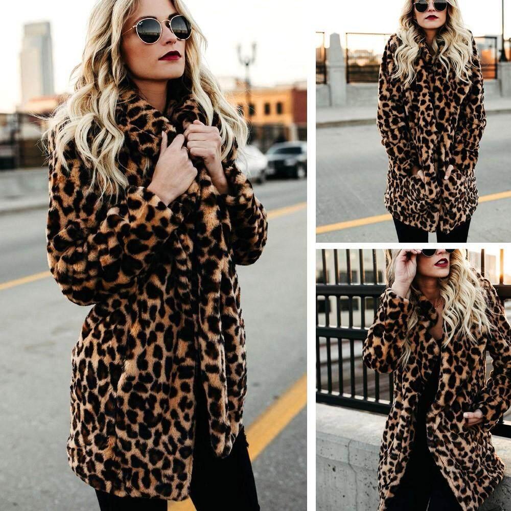 797ee4eb0affc Women Warm Winter Top Sweatshirt Ladies Leopard Print Pullover Jumper Coat