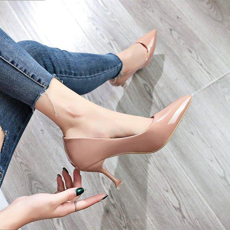 2018 Spring And Autumn Korean Style New Style Cat With Pointed Shoes Shallow Mouth Elegant Slimming Versatile Female Thin Heeled High Heels Womens Shoes By Taobao Collection.