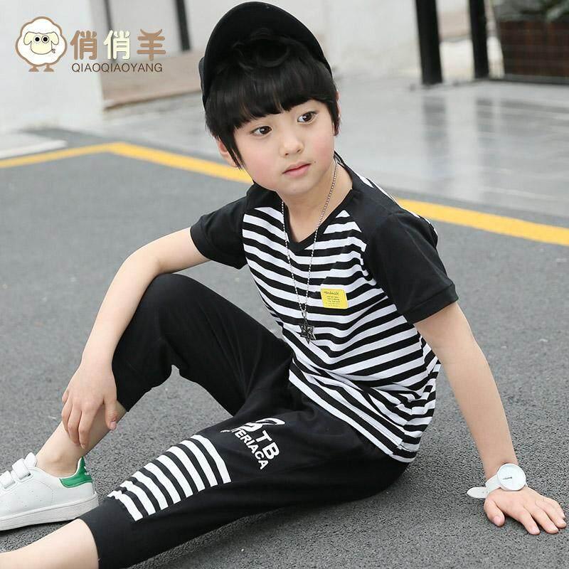 2 Pcs Celana Pendek Anak Laki-Laki Gaya Korea (Anak laki-laki bergaris jas musim panas ayat gambar warna) (Anak laki-laki bergaris jas musim panas ayat gambar warna)
