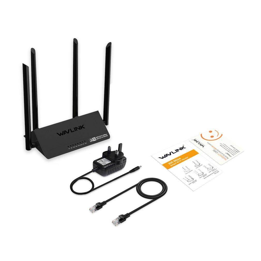 Lalove Wavlink Wn521r2p 300 Mbps Router ไร้สาย 4x5dbi สมาร์ทอินเตอร์เน็ตไร้สายภายนอก 4 เสาอากาศแอปอินเตอร์เน็ตไร้สายขยายดำสหราชอาณาจักร.