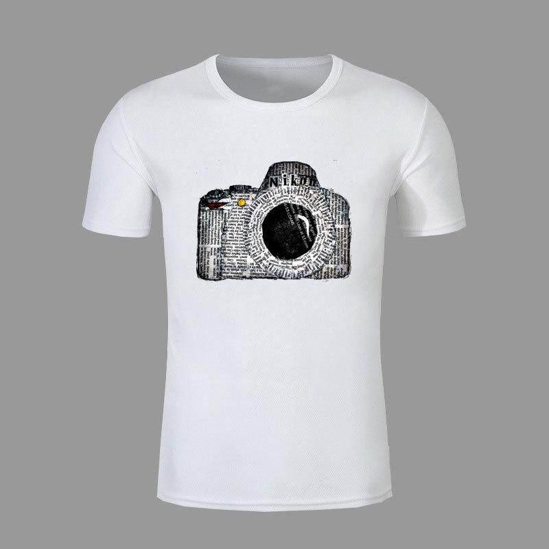 Kamera Putih Santai Ukuran Panggul Hop Atasan Streetwear Leher-o Lengan Pendek untuk Pria-Internasional