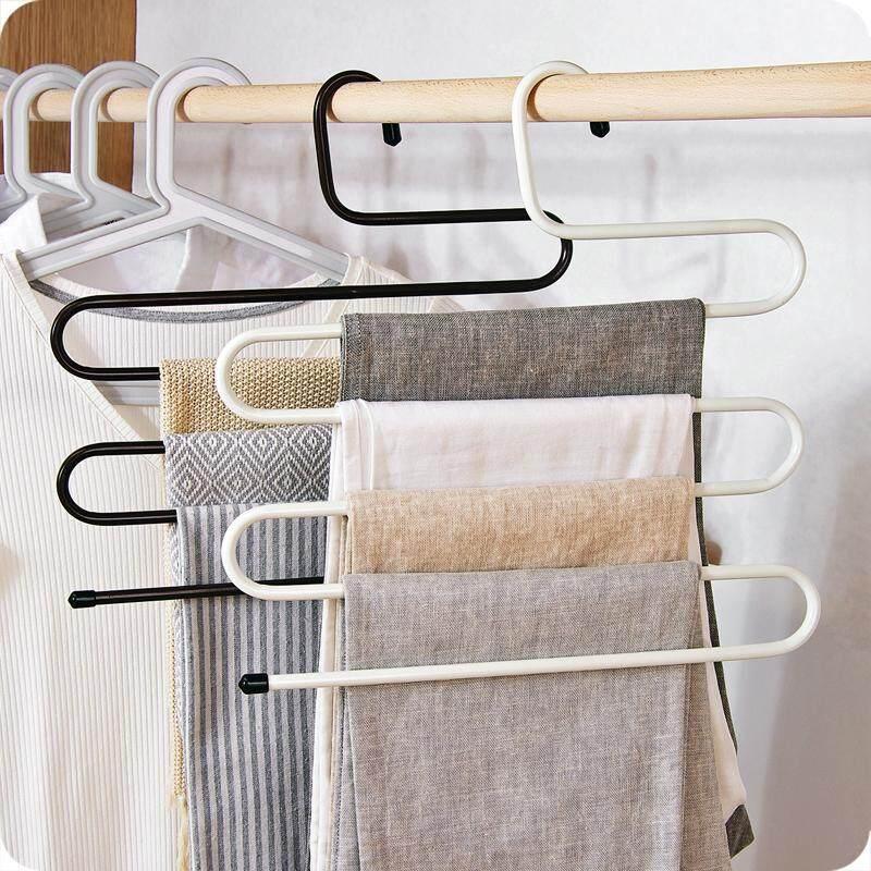 สุดคุ้ม!!! ที่แขวนผ้า แขวนกางเกง 5 ชั้น (3ชิ้น) ใช้งานสะดวกสบาย ในราคาแสนคุ้ม  Multi-Purpose 5 Layers Pants Hanger Trousers Tie Towels Belt Rack Space Saving S-Type Hanger(3pcs)