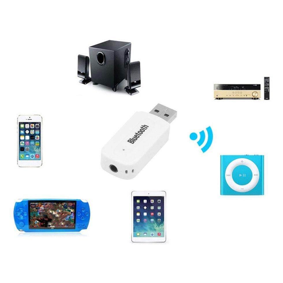 Usb Car Blueto*th Adapter 3.5Mm Jack Blueto*th Receiver Music Player Handsfree (White)