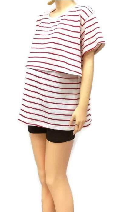 Bandekd เสื้อให้นม เสื้อคลุมท้อง สีครีม (ลายริ้วขวางสีแดง).