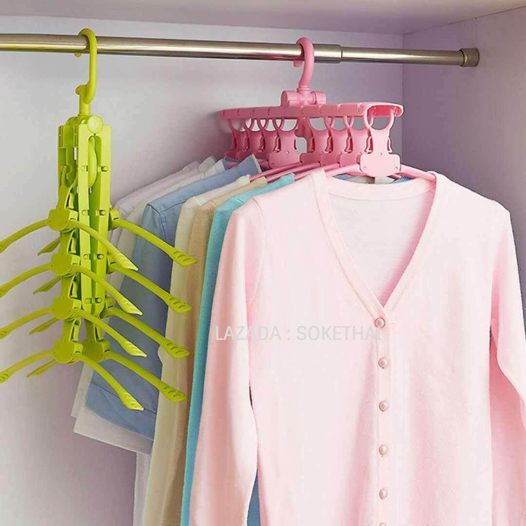 Soke ไม้แขวนเสื้อ แขวน 8 ตัวพร้อมกันได้ ประหัยดพื้นที่ของตู้เสื้อผ้า แข็งแรง .