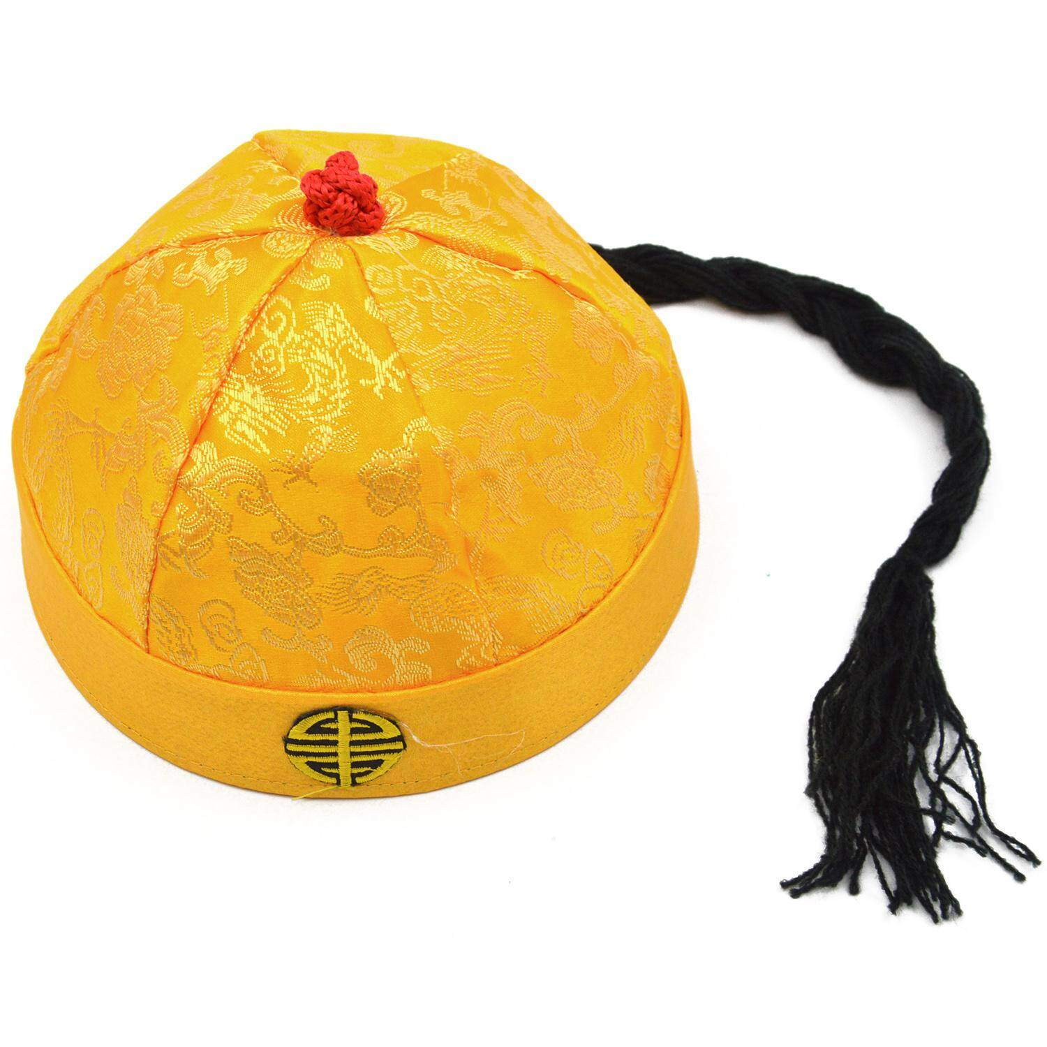 49cd5651a97 Kids Traditional Chinese Style Qing Dynasty Emperor Man Cap Hat with Long  Braid Ancient Costume Accessory