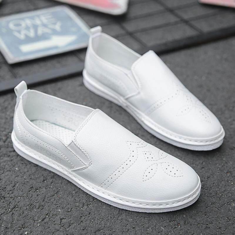 2018 musim panas baru mens sepatu bernapas kasual ultra-ribuan sepatu kulit mens sepatu kacang produsen grosir generasi Putih