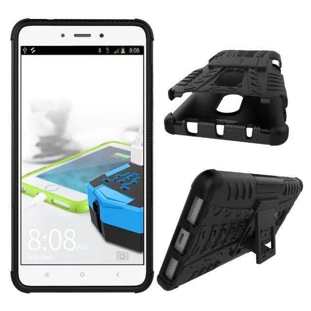 Untuk Xiaomi Redmi Note 4/4 Catatan 4X Ban Pola Kickstand Stand Hibrida Baja Kuat