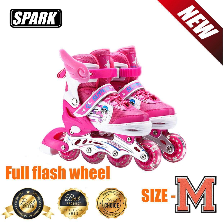 รองเท้าอินไลน์สเก็ต  Premium Inline Skate  Aluminium Tracks & Abec-7 Wheels With Lights  เบอร์ 33-37 (pink M).