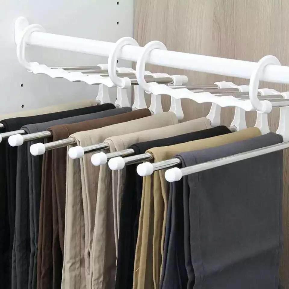 Magic Trousers Hanger ไม้แขวนกางเกง สแตนเลส 5 In 1 .