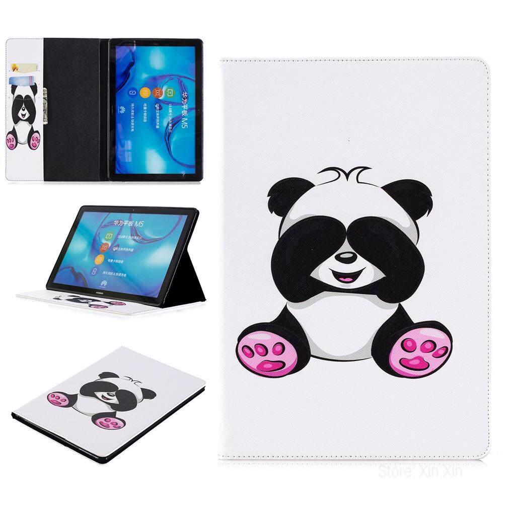 Merah Muda Besar Palm Panda Case Berdiri untuk Hua Wei M5 10.8 Kulit PU Inci Penutup