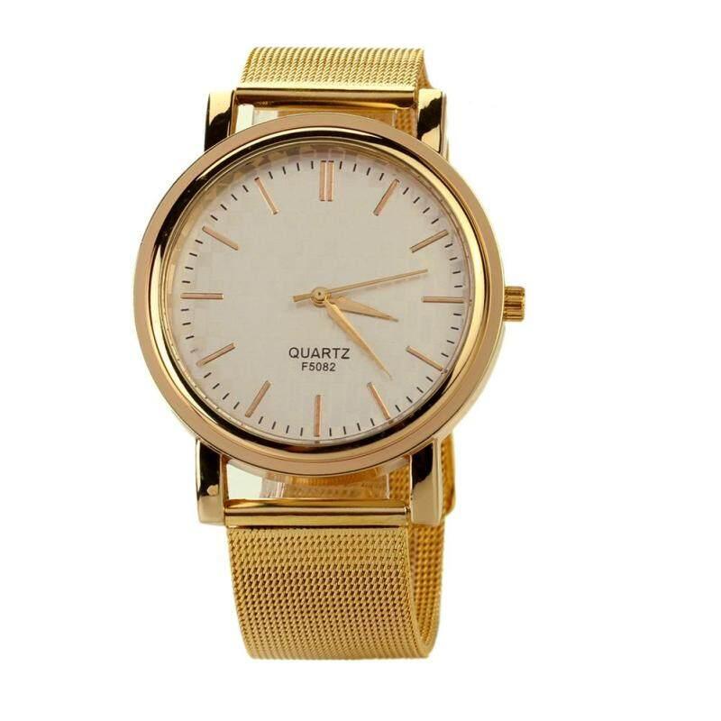 Nơi bán Luxury Men Women Casual Stainless Steel Gold Quartz Watch Wristwatch