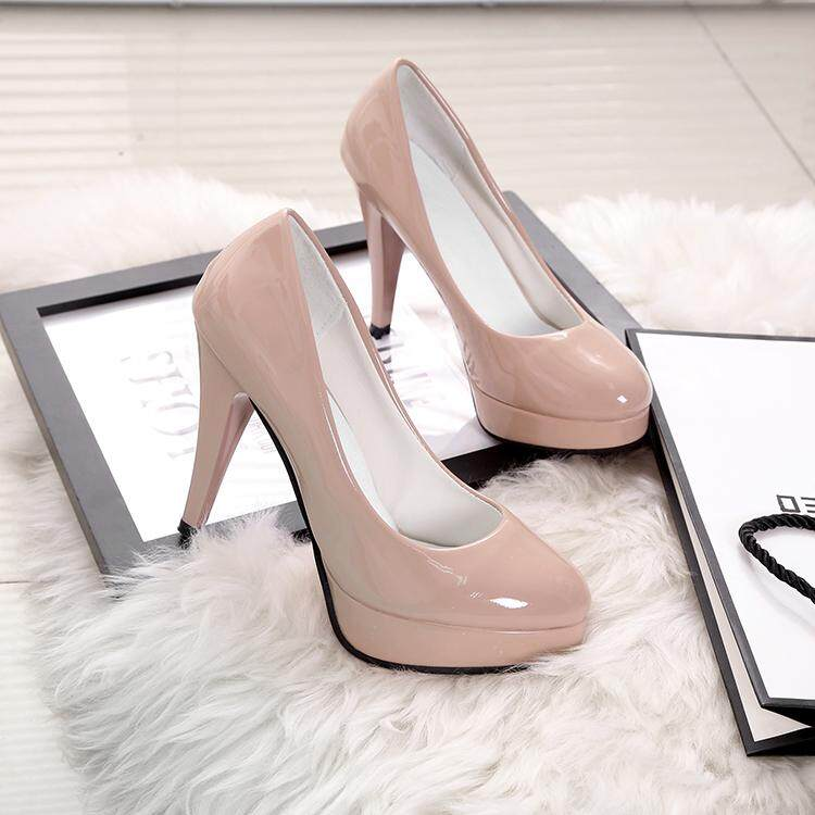 2018 New Style High Heel Shoes Thin Heeled Womens Shoes Round Head Shallow Mouth Foot Covering Block Heel Womens Shoes Patent Leather Shoes Vocational Work Shoes By Taobao Collection.