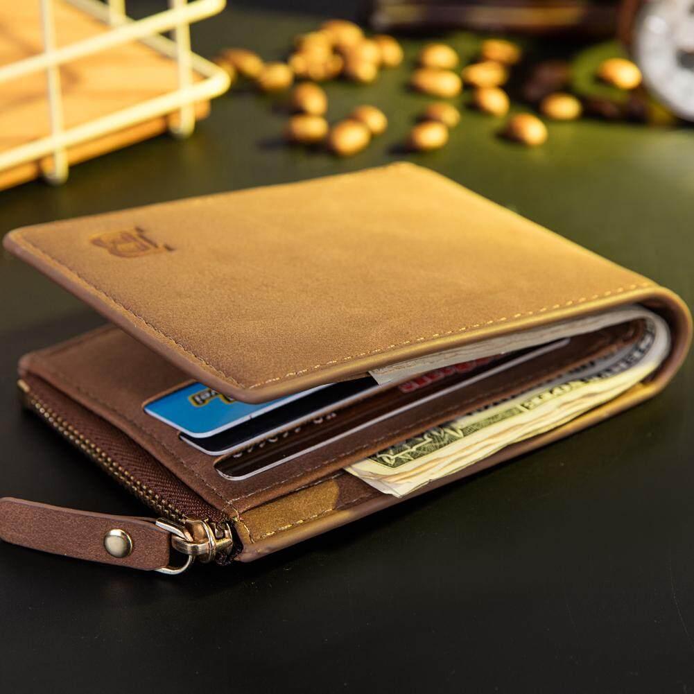 Casual men Short Wallet New Design Bifold Purse Vintage Cute PU Leather Multi Card Coin Case
