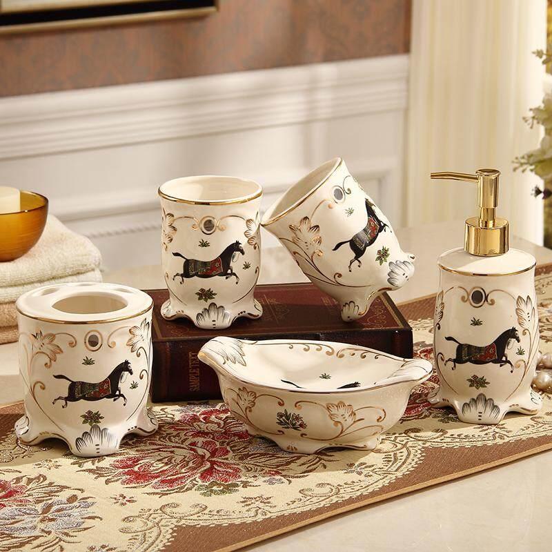 Ceramic Sanitary Ware Five Pieces Set European Style Washing Set Bathroom Supplies Kit Dental Tooth Glass Suit