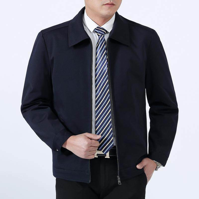 7cc21a0b986 2018 Spring And Autumn Middle-aged Business plus Velvet Jacket Men Stand  Collar Leisure Turn