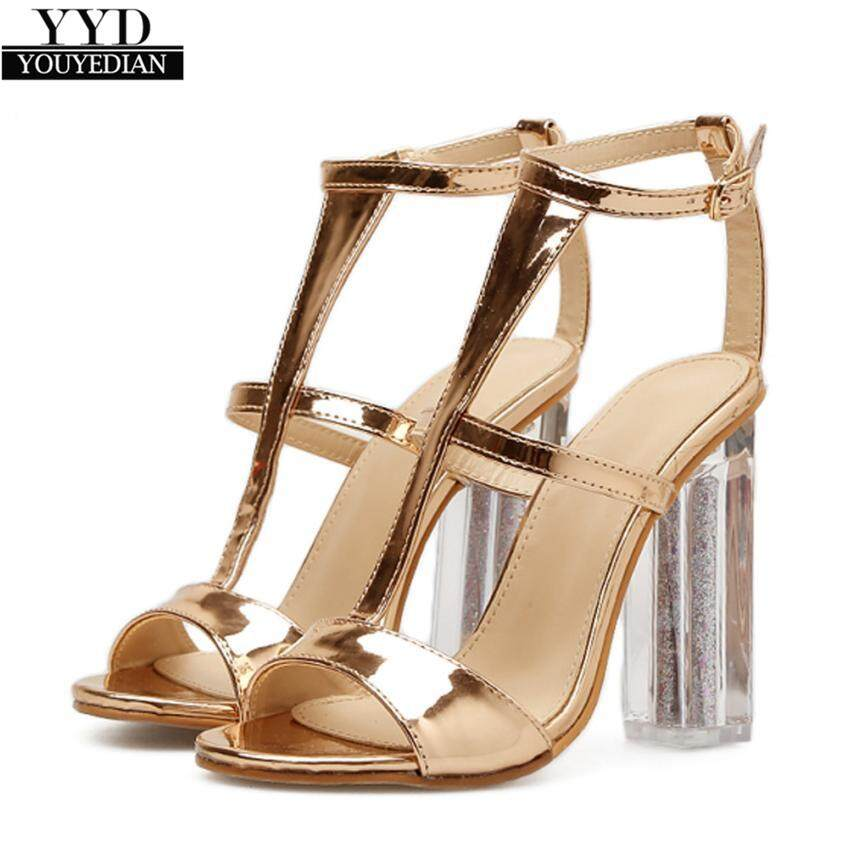 8949740a82dcb2 2018 Women Sandals Buckle Simple Fashion High Heel Sandals Lady Studded  Heels zapatos para mujer 2018