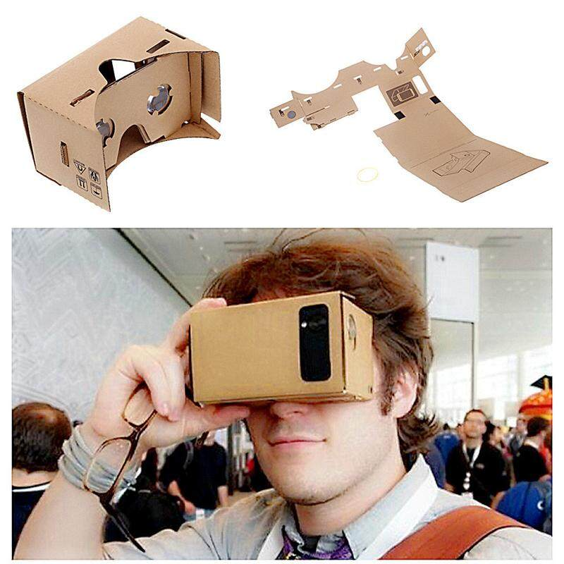 Google Cardboard Cardbord Lnette Video 3 D Gerceklik Virtual Reality Kacamata 3D Kacamata VR Smartphone Headset Helm Lensa VR BOX