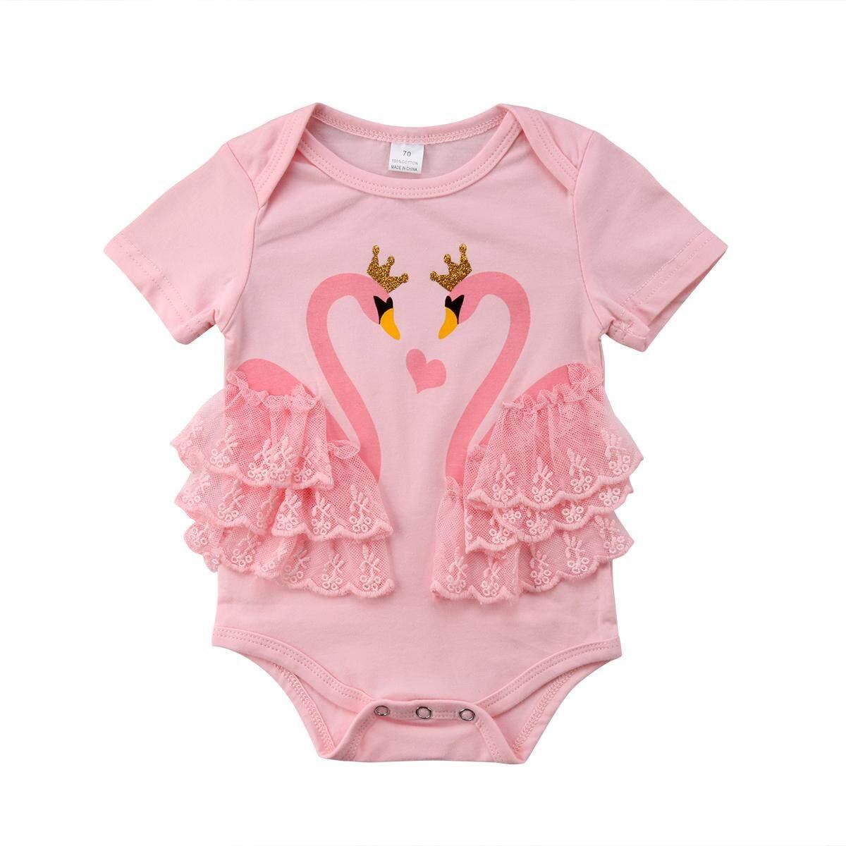 Terbaru Lucu Bayi Anak Perempuan Swan Lengan Bang Pendek Bodysuit Jumpsuit Renda Sunsuit Pakaian One Piece