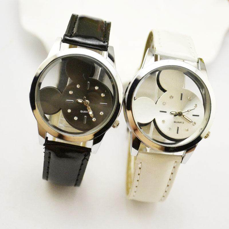Supply hollowed Mickey watch strap fashion watch wholesale middle school men and women watches lovers hands White Malaysia
