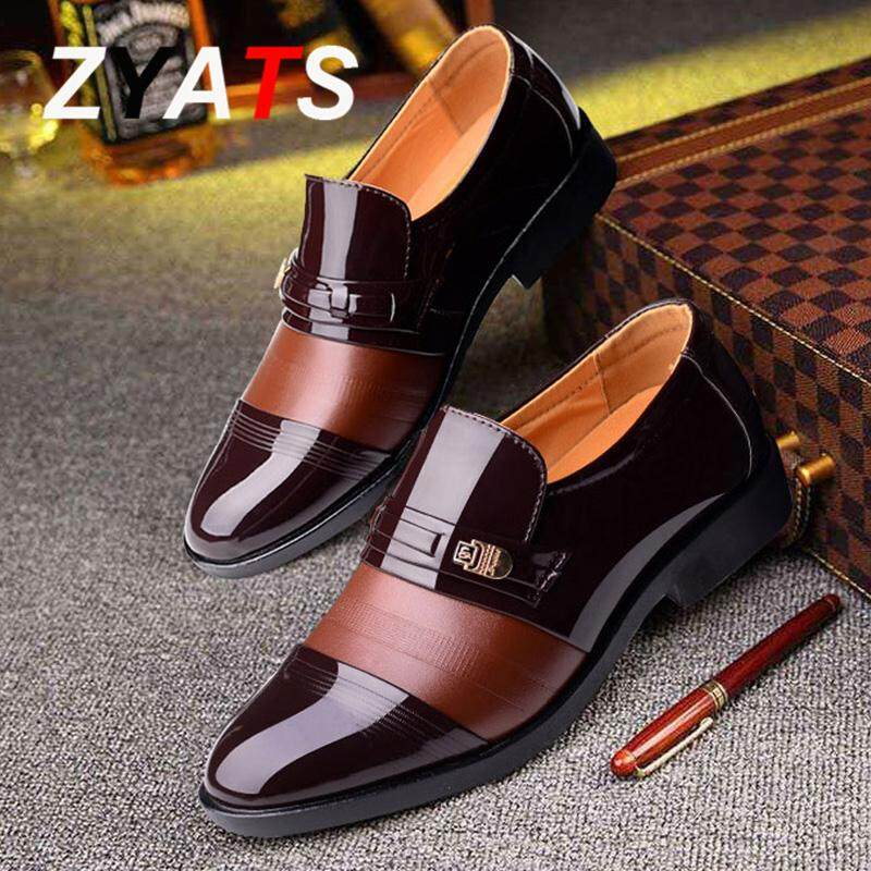 ... ZYATS Baru Plus Ukuran 38-48 Sepatu Kulit Pria Bernapas Sepatu Formal Sepatu Bisnis Kasual ...