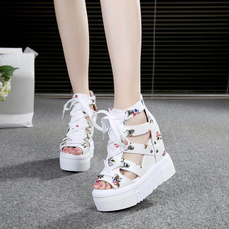 3f476d83fdd White Floral Sandals 2018 Summer New Style Thick Bottomed Elevator Super High  Heels Cross Straps Hollow