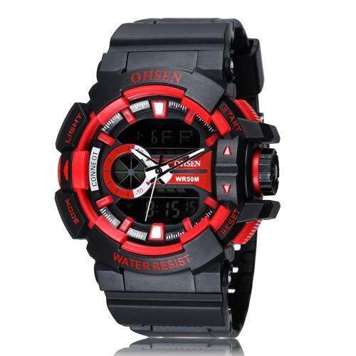 Ohsen AD1505 Fashion Pria Tentara Jam Tangan Olahaga Ohsen Merk Digital Watch Pria Pria LED Hari Tanggal Alarm Jam Tangan Tahan Air Relogios Masculinos-Intl