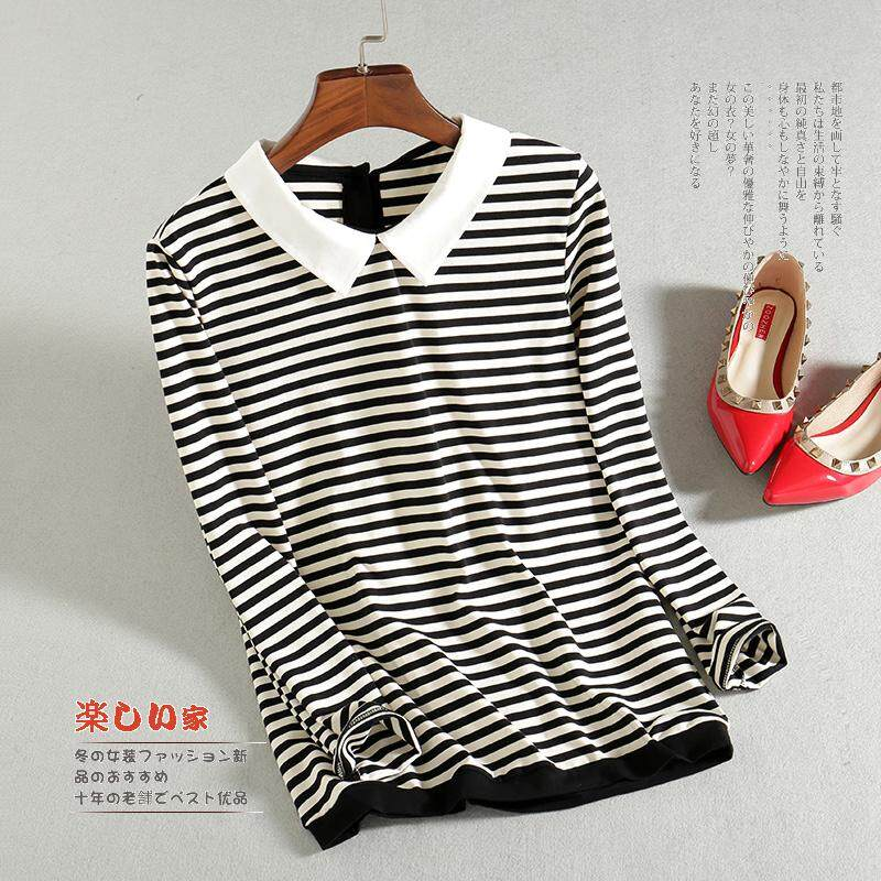 e11c64d803d9 2019 Spring Clothing Korean Style Organza Peter Pan Collar Pullover Loose  Long Sleeve Stripes T-