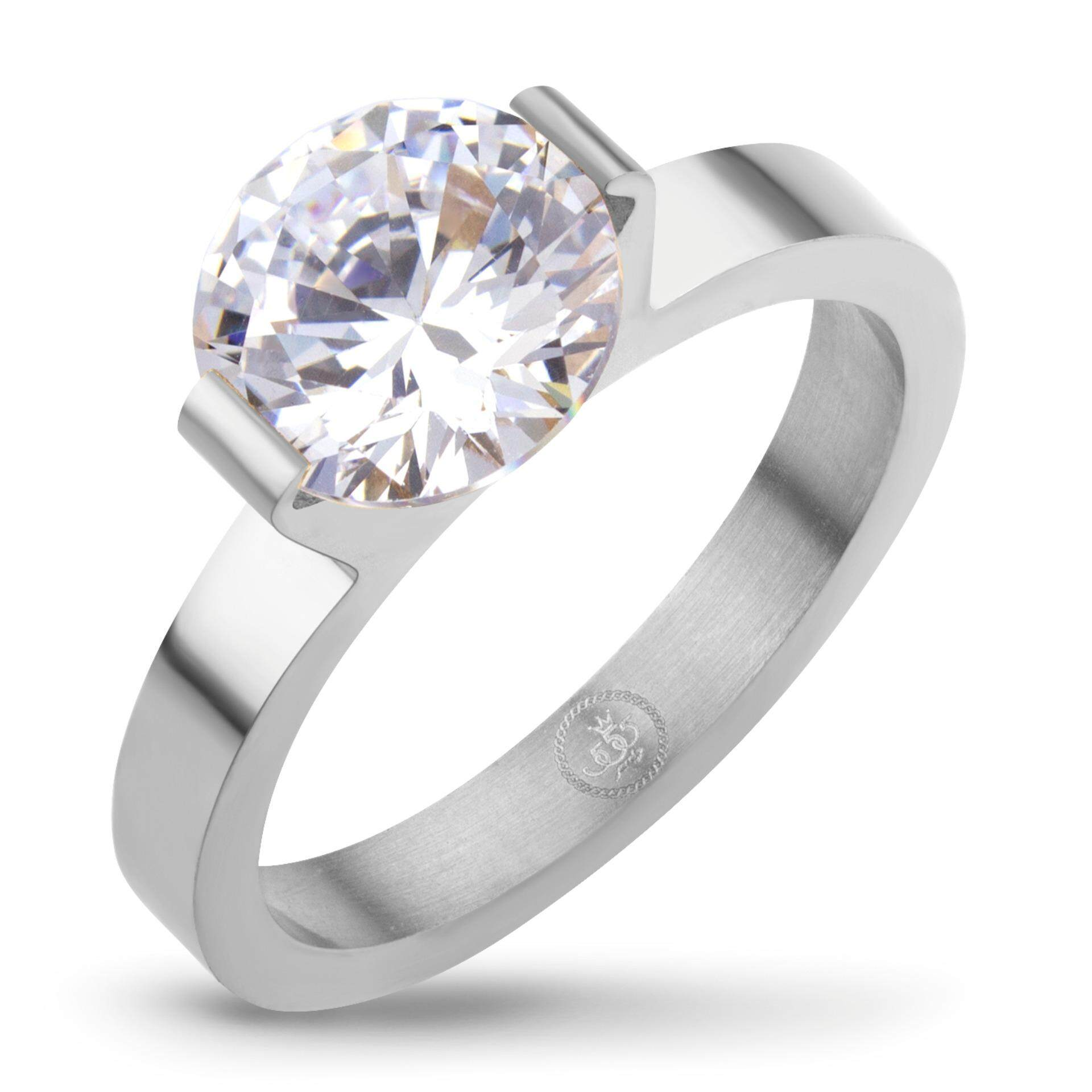 ขาย 555Jewelry เครื่องประดับ ผู้หญิง แหวน สแตนเลสสตีล แหวนน่ารักประดับ Cz สีขาวตัวเรือน สี สตีลเงิน รุ่น Mnc R674 A 555Jewelry