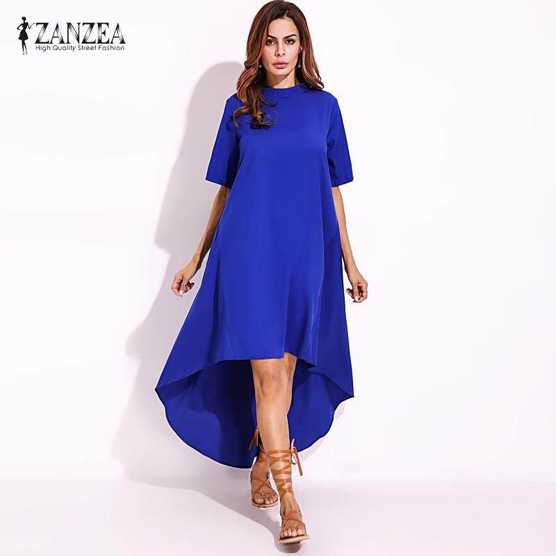 ราคา ราคาถูกที่สุด Zanzea Women Autumn O Neck Short Sleeve Asymmetrical Hem Summer Casual Loose Party Solid Long Dress Plus Size Blue Intl