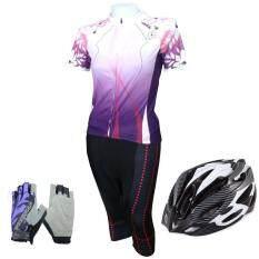 Gateway ชุดปั่นจักรยานผู้หญิงขา 5 ส่วน ST สีม่วง+หมวกจักรยาน  MR สีดำ/ชมพู+ถุงมือฟรีไซด์ ลายดอกไม้ - สีม่วง