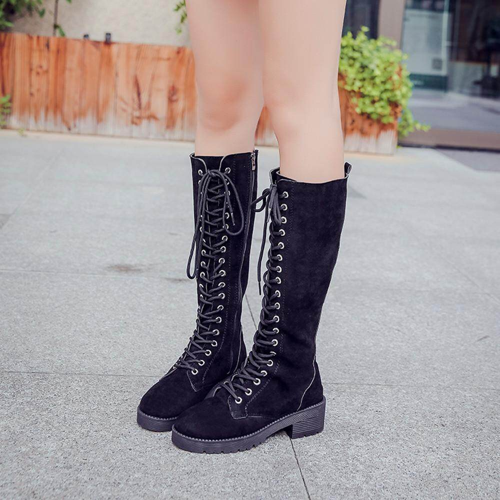 Guo Womens Retro Suede Flat Shoes Round Toe Lace-Up Long Tube Knight Boots By Hongshouguostore.
