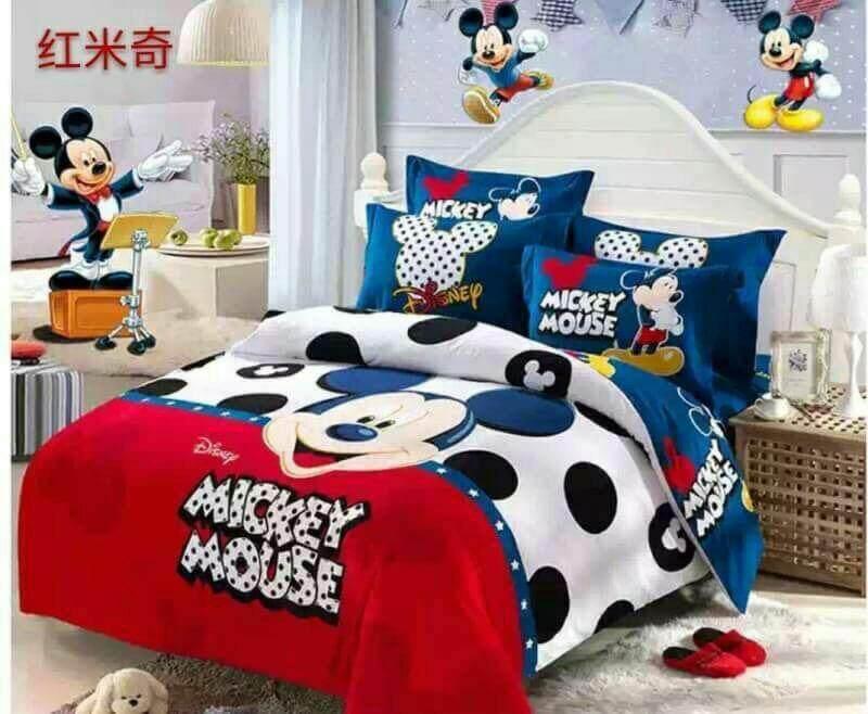 ชุกเครื่องนอน Mickey Mouse ผ้าปู 6 ฟุต ผ้าห่ม 6 ฟุต 6ชิ้น .